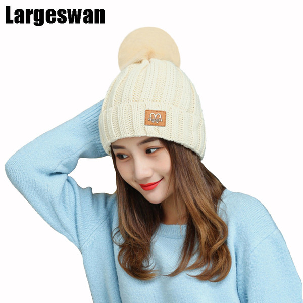Großhandels-Largeswan Orros Strickmütze warme Winter Hüte für Frauen Mützen Brief Baumwolle Skullies weibliche Pom Poms Hut Herbst Kappe