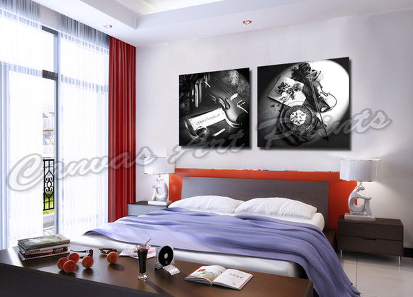 Modern Stretched Home Decor Art Piano Painting 2 Piece Music Canvas Prints Black White Wall Art Decor Canvas Painting for Living Room Wall