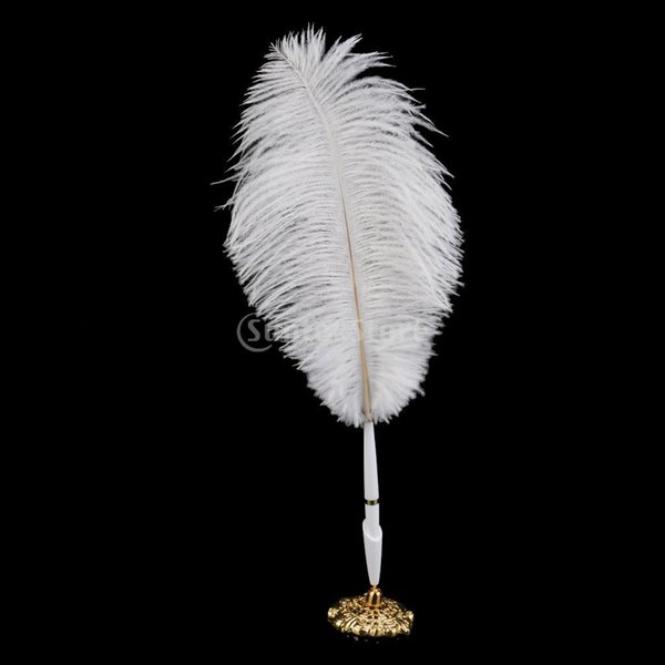 Wholesale-Ostrich Feather Quill Signing Pen with Metal Holder Wedding Pen Set White