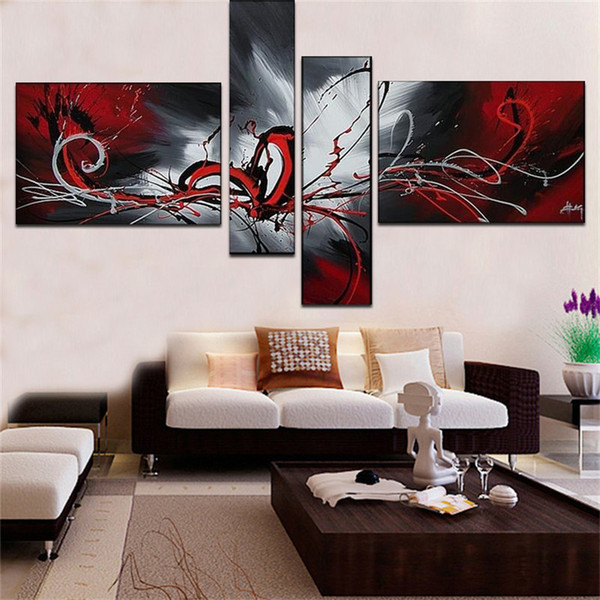 top popular 100%Handpainted The phoenix totem oil painting 4 pcs   set decoration oil painting abstract wall Pictures For Living Room decor 2019
