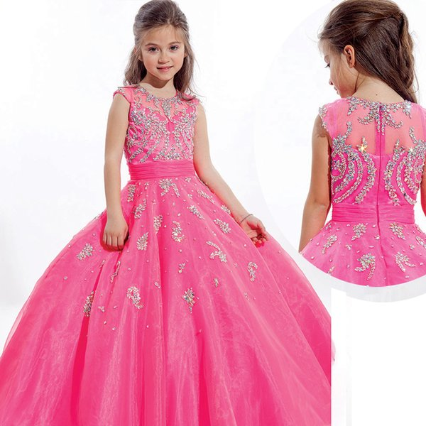 Hot Pink Girls Pageant Dresses For Teens With Jewel Neck Cap Sleeve ...