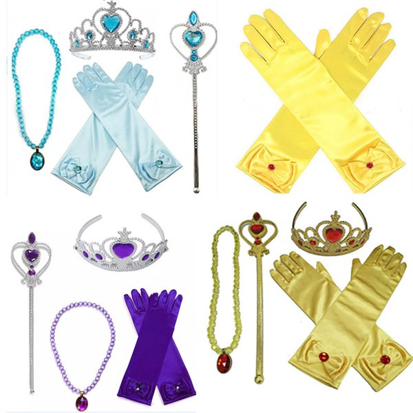 Princesa Dress up Crown Accesorios 4Pieces Sets de regalo Belle Crown Magic Wand Rhinestone Collar Guantes Niños Traje de Cosplay HH-S19