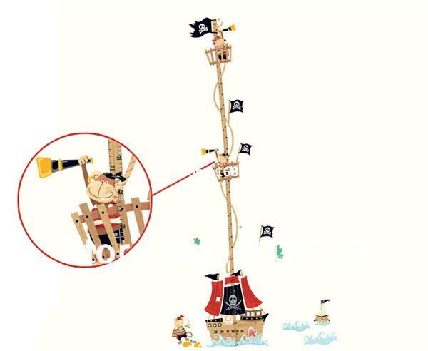 [Saturday Mall] - new product kids room pirate ship decals pirates decor wall stickers children's height measurement chart 6411