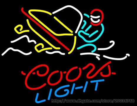 "Coors Light Motorboat Neon Sign Real Glass Tube Custom Handmade Sport Bar Club Pub Store Game Advertisement Display Neon Signs 24""X20"""