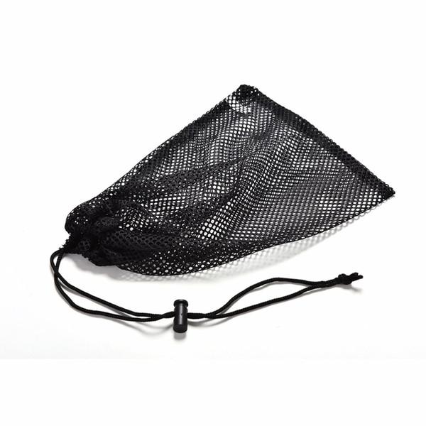 All'ingrosso-Nero Nylon Sacchetto della sfera di golf Mesh Rets Bag Pouch Golf Tennis da tavolo 48 Balls Portante Sacchetto di immagazzinaggio String String chiusura 30x19cm 1Pcs