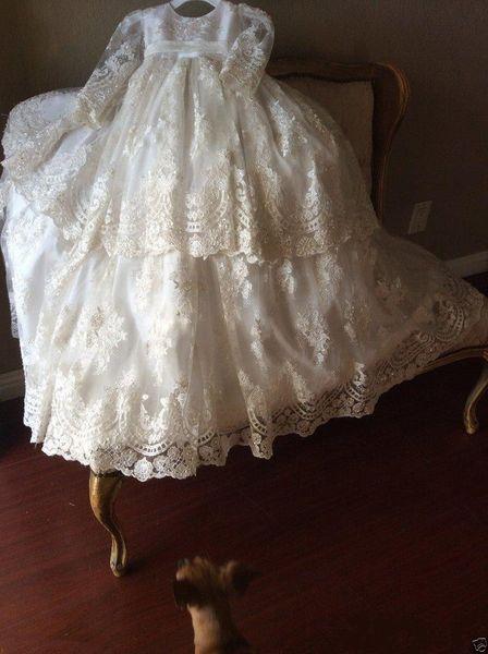 Vintage Christening Gown Long Sleeve Lace Antique Toddler Baby Baptism Dress Flower Girls Kid First Communication Dress