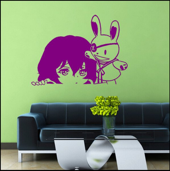 Decal Removable Home Decor Vinyl Decal Cartoon LOVE LIVE No Game No Life Outline Sketch Baby Room Anime Sticker Wall Paper Wall Sticker