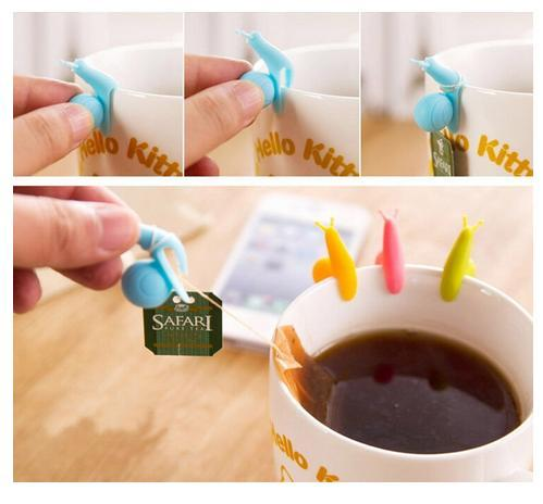 Tea Bags Holder Snail Tea Bags Clips Party Glass Cups Distinguish Labels Promotional Gifts for Xmas Shopping Mall FDA Silicone Clips