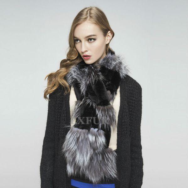 Écharpe de fourrure de lapin en gros réel-Rex réel femmes écharpes d'hiver à la mode avec fourrure de renard faible PrLadies écharpes 2015 Soft Muffler AU00288