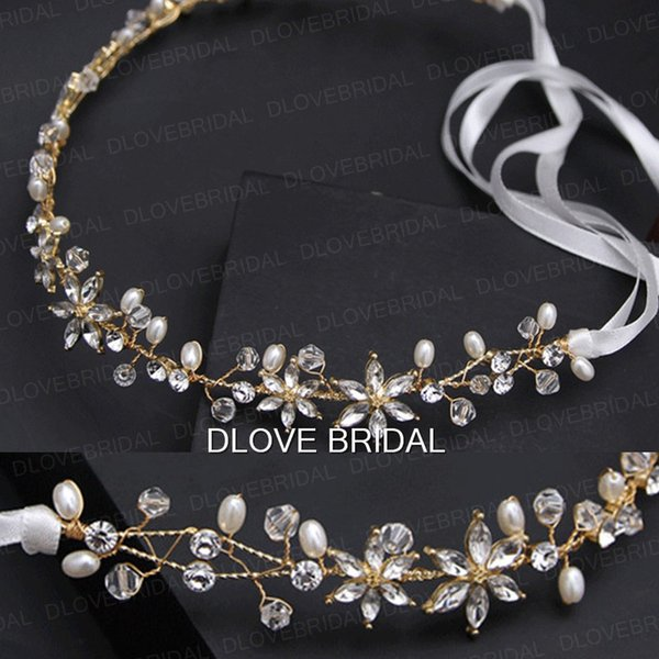 New Style Gold Bridal Hairband Handmade Fairy Flexible Crystal Pearls Beaded Wedding Party Hair Accesory Headband Headpieces with Ribbon