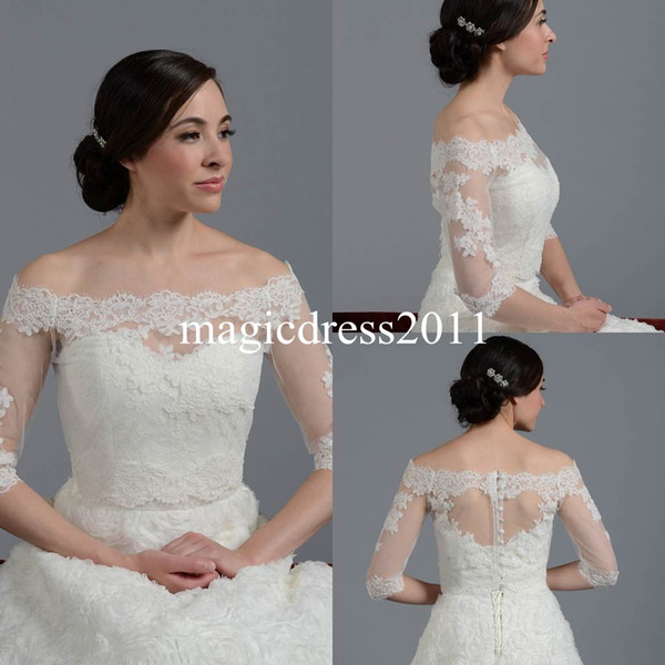 Lace Sheer Off Shoulder 2019 Jackets Bridal Wraps Shawl Bolero Shrugs Stole Cloak Caps Half Sleeve Tulle Bridesmaid Wedding Dress Wrap FJ012