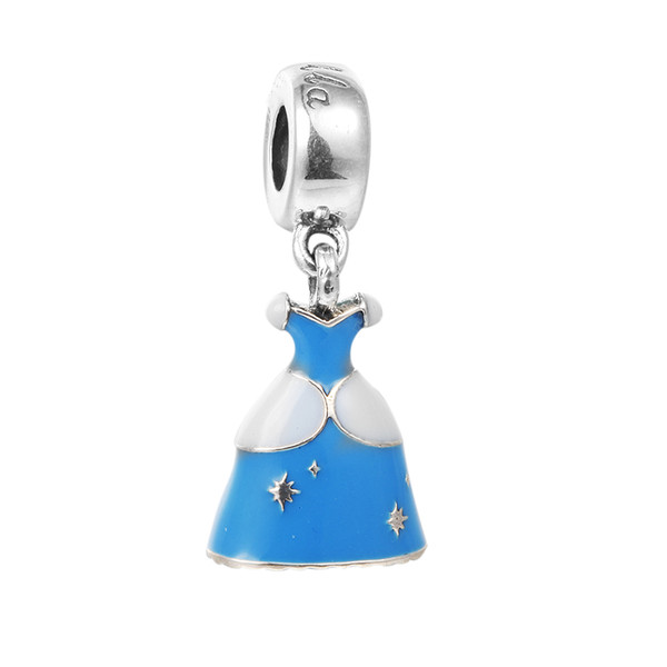 Cinderella Dress Silver Dangle with Blue Enamel 100% 925 Sterling Silver Beads Fit Pandora Charms Bracelet Authentic DIY Fashion Jewelry