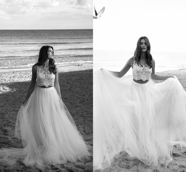 Discount Lihi Hod 2017 Summer Beach Tulle Wedding Dresses Crop Top ...