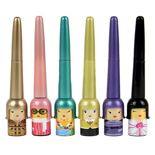 Venta al por mayor- linda muñeca botella mujeres niñas impermeable cosmética Eyeliner líquido pluma maquillaje cuidado de la belleza delineador de ojos 5W1J 7GU4