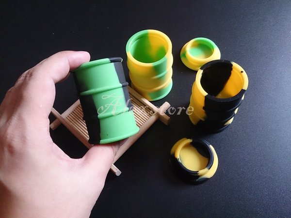 silicone oil barrel container jars dab wax vaporizer oil rubber drum shape container 26ml large food grade silicon dry herb tool DHL