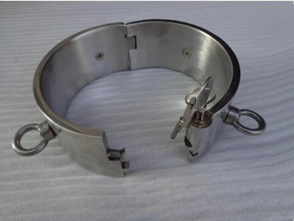 BDSM FATORY 5CM high Steel Slave Collar Collars with 4 rings Neck Bondage Collar with Lock