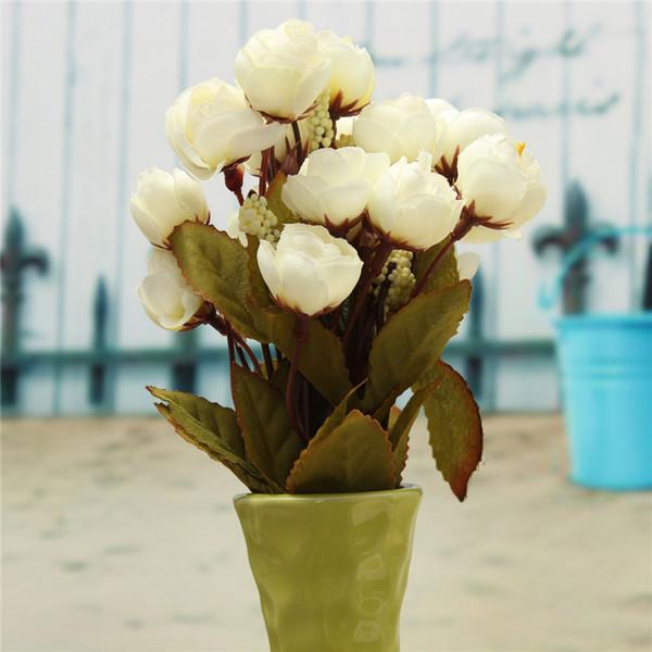 Flores De Seda Artificial 18 cabezas de flores de camelia Magnolia Boda Fiesta Decoración