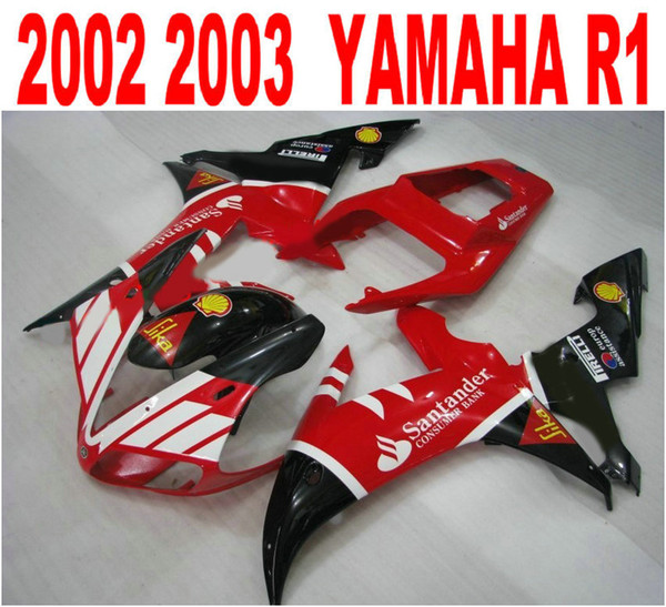 Customize injection fairings kit for YAMAHA R1 02 03 fairing body kits yzf r1 2002 2003 black red Santander motobike parts LQ49
