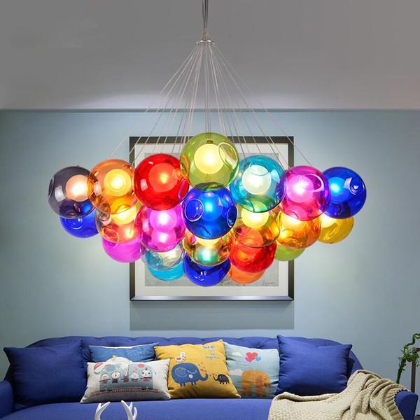 Modern Crystal chandeliers Colorful glass ball warm white LED pendant lamps Lights for dining room living room bar G4 led bulb AC 85-265V