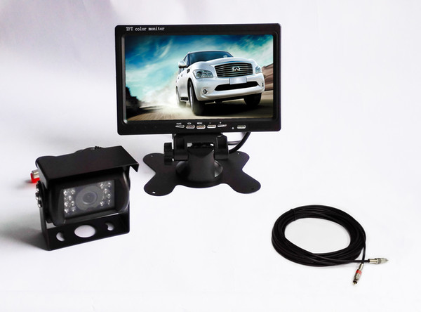 """DC12-24V 7"""" LCD Car Rear View Monitor 18 IR LED lights view camera for trucks,bus, van 12M special video cable"""