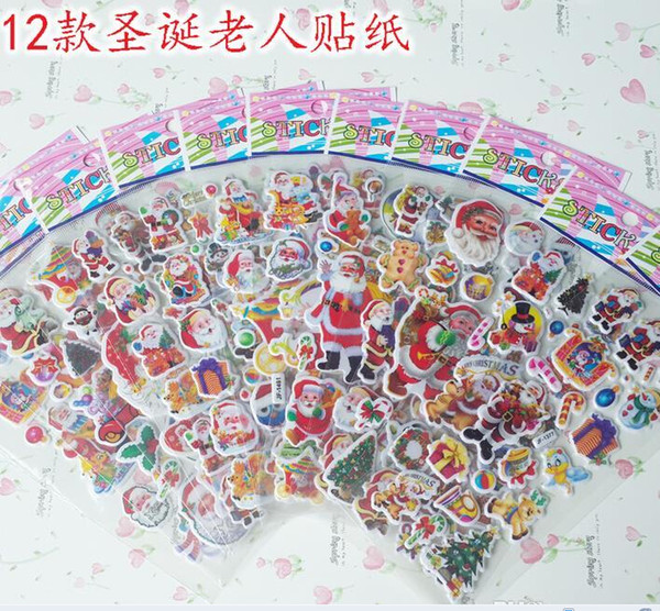 top popular 2015 Christmas 3D Cartoon Sticker Santa Claus Wall Stickers Christmas Tree Snowman gift Paster Kindergarten Reward 2021