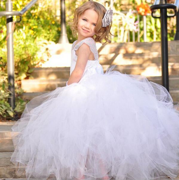 Kid's Girl's White Princess Flower Girl's Dresses Strap Bridesmaid Party Wedding Satin Tulle Mesh Dresses for 1-12 Years Old Girl