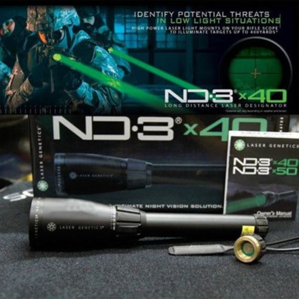 New Green Laser Genetics ND3 x40 Long Distance Laser Designator Pointer with Ring Mounts Tactical hunting rifle scope
