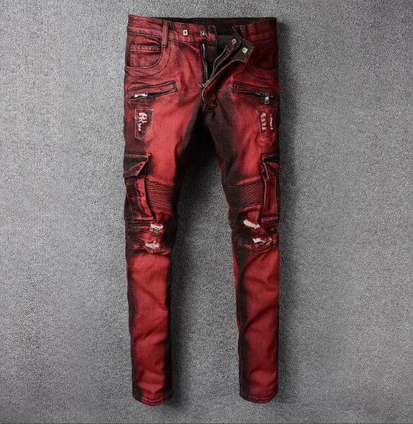 2019 Mens jeans Drape Panel Big Pocket Design Men Casual Moto Biker Jeans Stylish Vintage Washed Denim Pants Relaxed Trousers Red