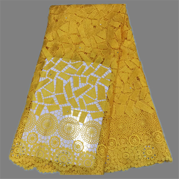 High class apparel material nice design French water soluble lace fabric for party dress EW46 multi color on sale