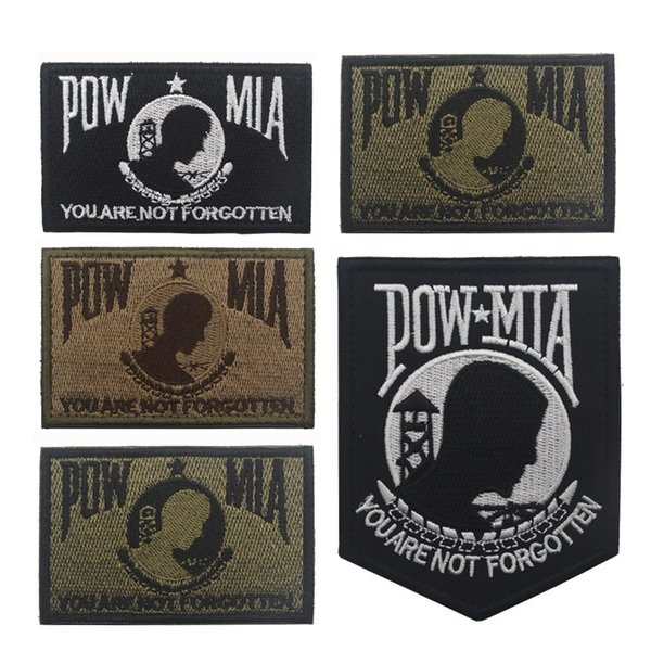 Hot Leathers Pow Mia Embroidered Patch Heat sealed backing For Motorcycle Biker Jacket You Are Not Forgotten us patch Free Shipping