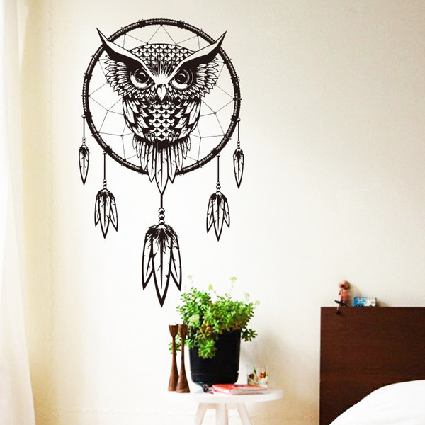 2015 Art Wall Sticker Indian Dream Catcher Decor Wall sticker Cute Owl Decals Vinyl murals Stickers Animal Wall Paper home decoration
