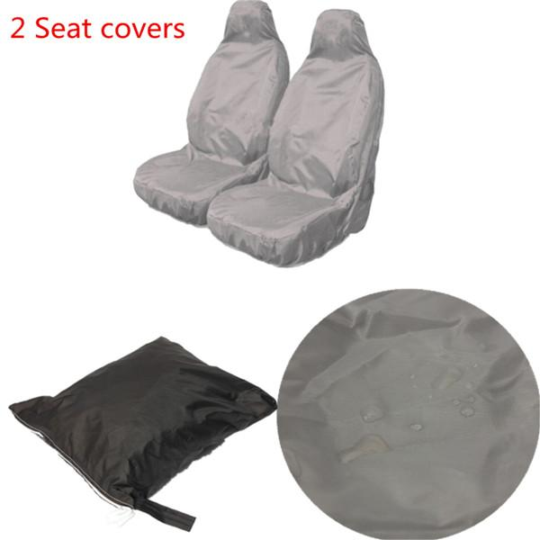 top popular 2pcs Universal Car Nylon Heavy Duty Waterproof Grey Front Seat Covers Protectors order<$18no track 2019