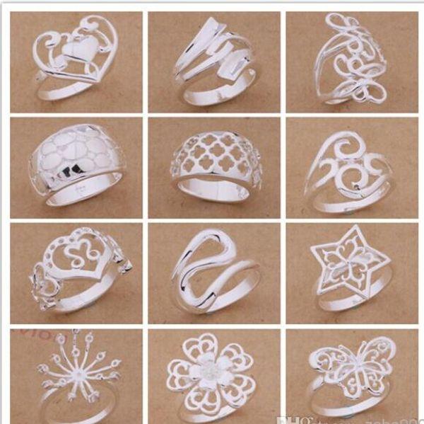 Orden mezclada 24pcs / lot 925 plateó los anillos del estilo del partido de la joyería de moda del regalo de Navidad de calidad superior del envío libre 1766