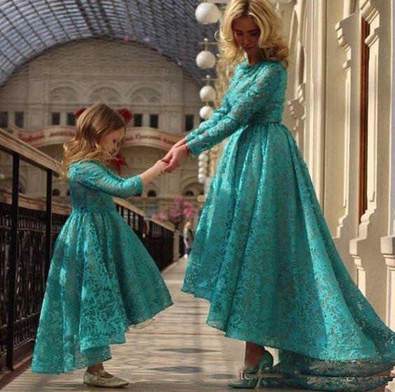 Teal Green High Low Lace Mother And Daughter Prom Dresses Long Sleeves Jewel Arabic Formal Party Dancing Gown 2018