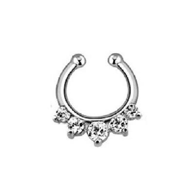 1pcs taboo style gold and silver nose rings and studs screws crystal clip non piercing fake nose ring Free shipping N0007