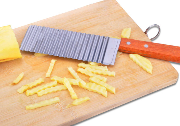 Wholesale-French Brand Potato Cutter With Wood Handle Fries Cutting Wave Knife Filament Cutter + Free Shipping