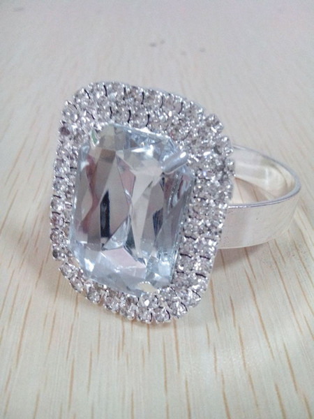 100PCS A Lot 2 Layer Vintage Acrylic Diamond Napkin Ring Gold/Silver 2 Color For Choice