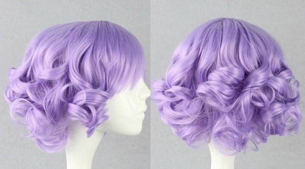 Super cute Ladies women Light purple Curly Wavy cosplay girl wig & Free Shipping