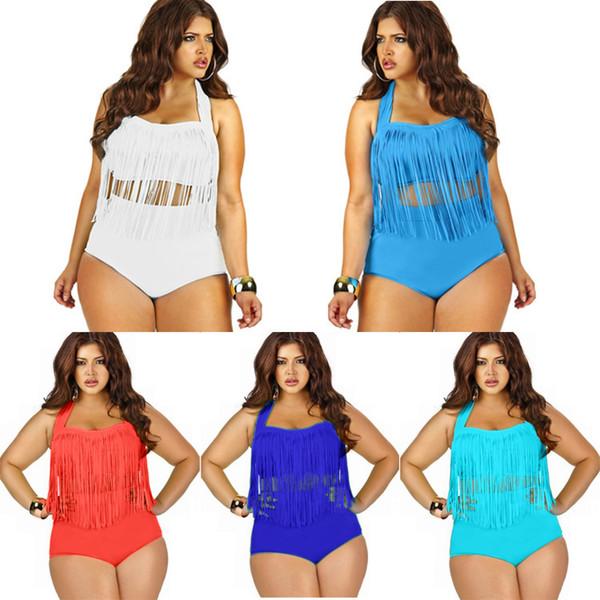 205 Wholesales Women Plus Size High Waist Tassels Bikini Set Sexy Ladies Push Up Swimwear Padded Boho Fringe Swimsuit Bathing Suit 10 Colors