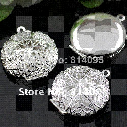 Free Shipping wholesale 27mm Silver Plated Copper Material Hollow Round Photo Memory Filigree Lockets pendant jewelry box
