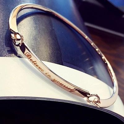 Luxury 18k Gold Plate Bangle Engraved Believe In Yourself Brand Stylish Elegant Silver Open Bracelets For Women Jewelry