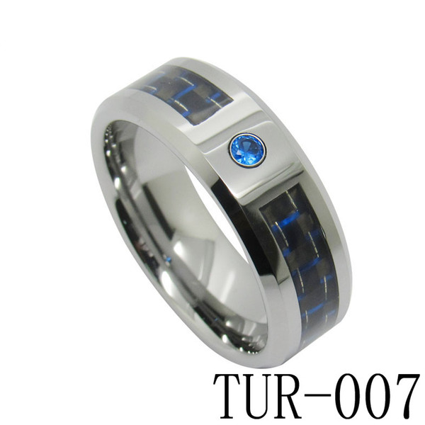 8mm Fashion Jewelry Ring Tungsten Carbide Ring Blue and Black Carbon Fiber inlay with CZ set for men and women TUR-007