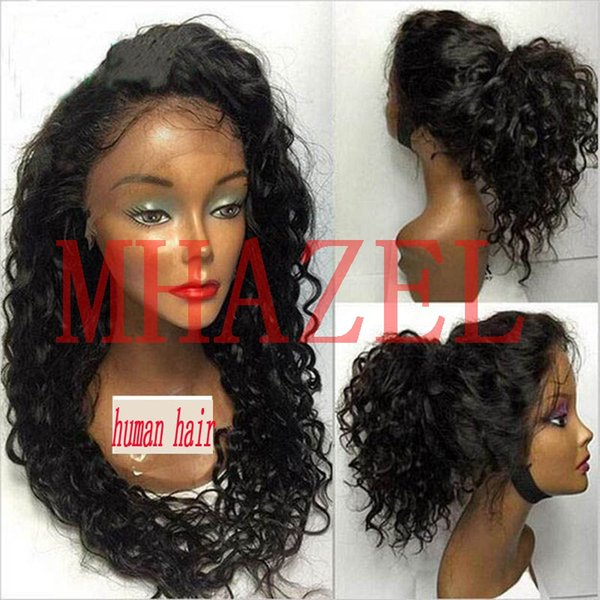 MHAZEL Afro Kinky Curly Brazilian Full Lace Human Hair Wigs With Baby Hair Wigs 150% For Black Women