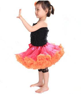 Baby Chiffon Fluffy Pettiskirts TuTu Princess Skirts Ballet Dance Wear Party Costume Baby Girl Clothe Raspberry Orange Pettiskirt M003