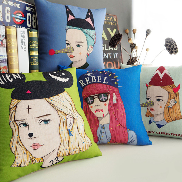 Korean Style Merry Christmas Girl Wearing Hat Cushion Covers Cartoon Pop Art Cushion Cover Sofa Decorative Thick Linen Cotton Pillow Case