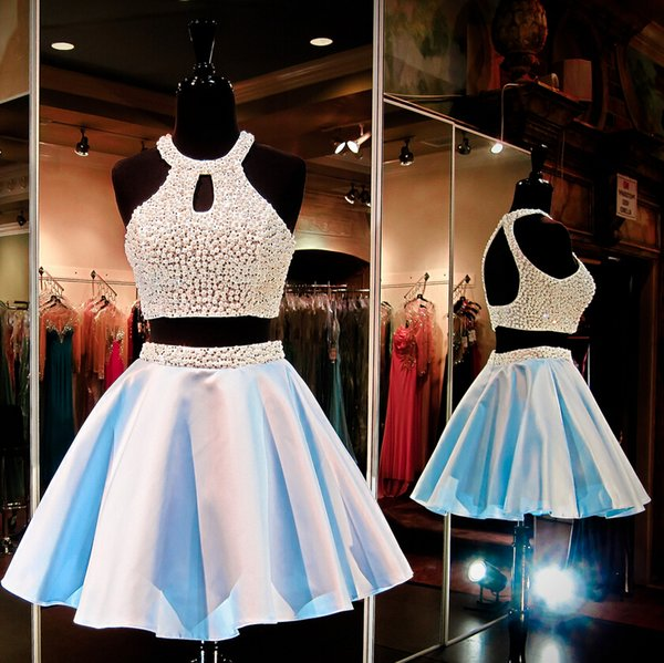 best selling Latest Halter Neck Mini Short Two Piece Party Dresses Sleeveless Light Blue Fashion Satin Pearls Elegant Cocktail Evening Prom Dress Gowns