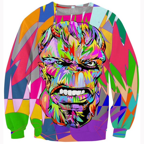 2019 W1223 Women Men Fashion Pop Art Design Crewneck Hoodies Tops Colorful Hulk 3d Sweatshirt Outerwear Hip Hop Hoodie Pullovers Tracksuits From
