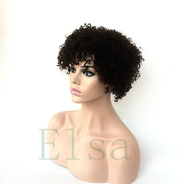 Human Hair Wigs Malayslian Afro Kinky Curly Lace Front Wigs With Baby Hair 8inch Black Color None Lace Wig For Black Wome