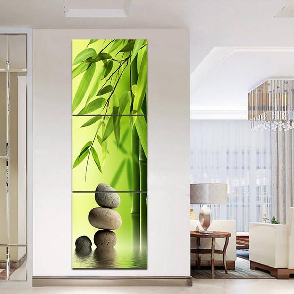Acheter 3 Pièces Vert Bambou Peinture Ensemble Sur Le Mur Feng Shui Toile  Peinture Imprimé Paysage Art Image Pour La Maison Chambre Décor No Cadres  De ...
