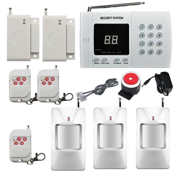 Inalámbrico Inicio PIR Movimiento Detección por infrarrojos Sistema de alarma antirrobo de seguridad Marcación automática 2x Ventana / Sensor de alarma de la puerta Fácil DIY